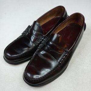 LL Bean mens burgundy leather penny loafer sz 11D